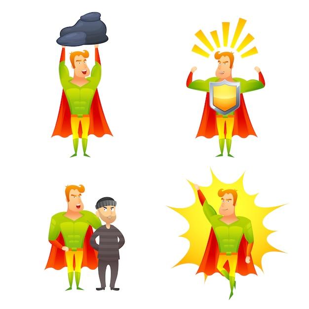 Установленные значки силы персонажа из мультфильма супергероя Бесплатные векторы