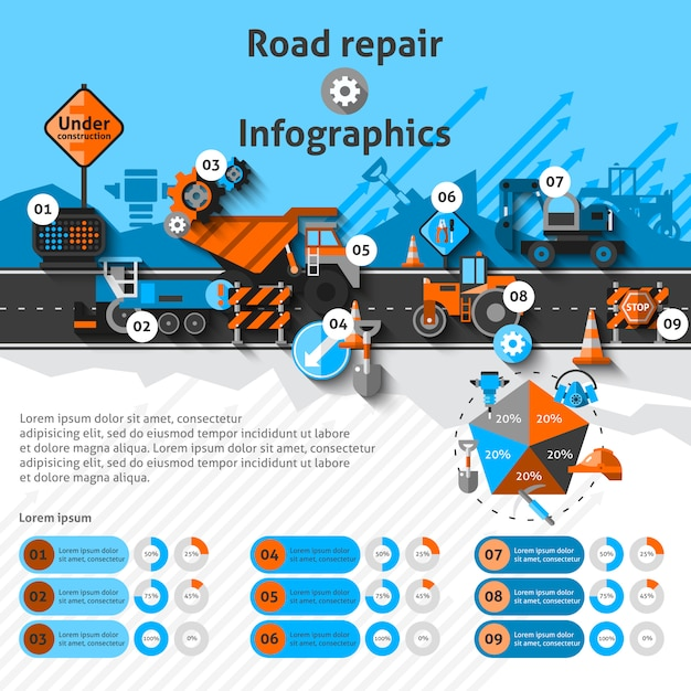 道路修理インフォグラフィック 無料ベクター