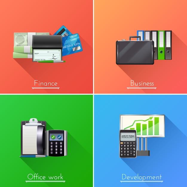 ビジネスデザインコンセプトセット 無料ベクター