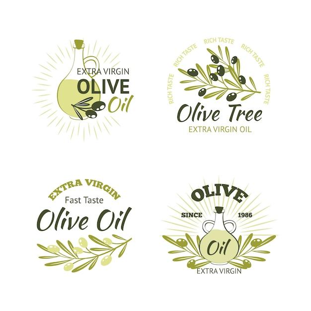 Набор оливковых эмблем Бесплатные векторы