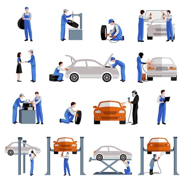 自動車整備士車サービス修理およびメンテナンス作業アイコン 無料ベクター