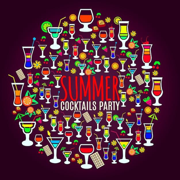 Плакат вечеринки в отпуске с тропическими коктейлями Бесплатные векторы