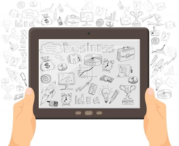 ビジネスモバイル技術コンセプトバナー 無料ベクター