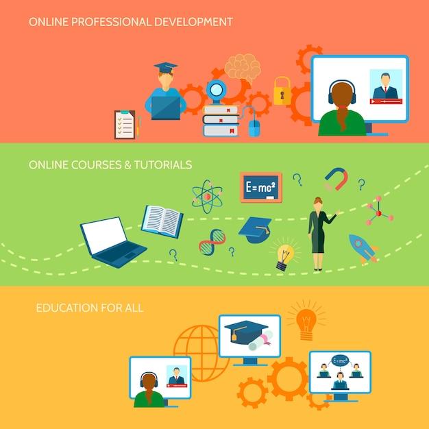 オンライン教育水平バナーセット 無料ベクター