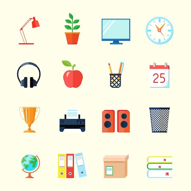Установить интерьер комнаты плоские иконки Бесплатные векторы