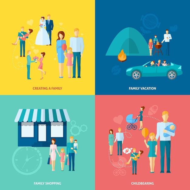 家族の概念セット 無料ベクター