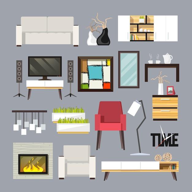 リビングルーム家具セット 無料ベクター