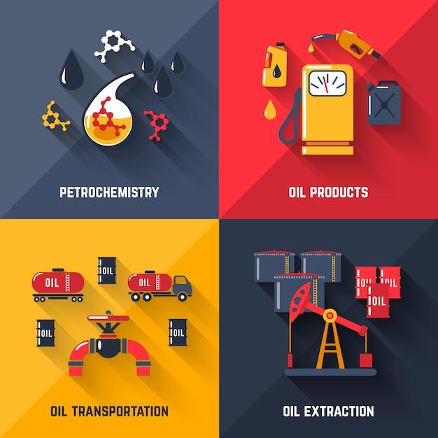 石油デザインコンセプトセット 無料ベクター