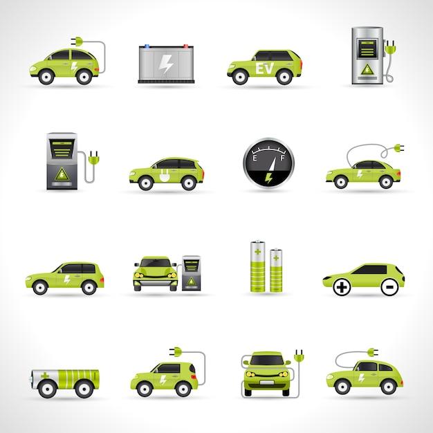 Иконки электромобилей Бесплатные векторы