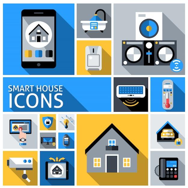 Умный дом иконки Бесплатные векторы