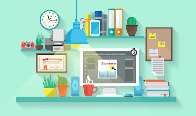 Бизнес рабочее пространство в интерьере комнаты Бесплатные векторы