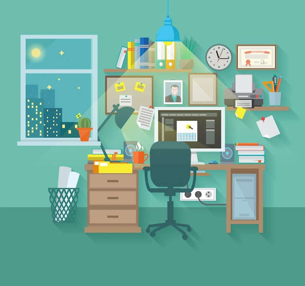 Рабочая область в комнате Бесплатные векторы