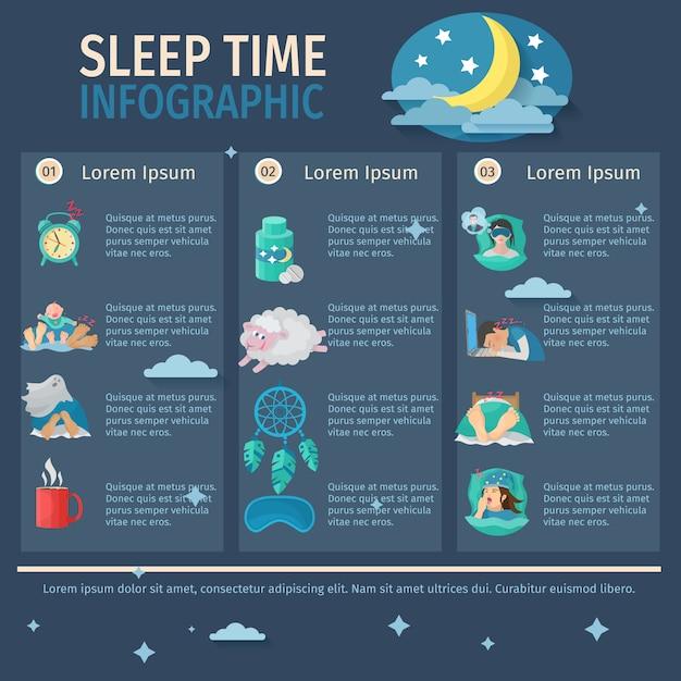 睡眠時間インフォグラフィックセット 無料ベクター