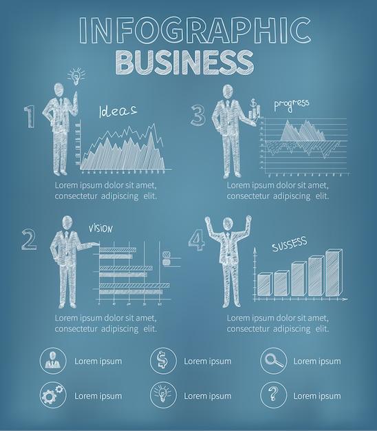 ビジネスインフォグラフィックセット 無料ベクター