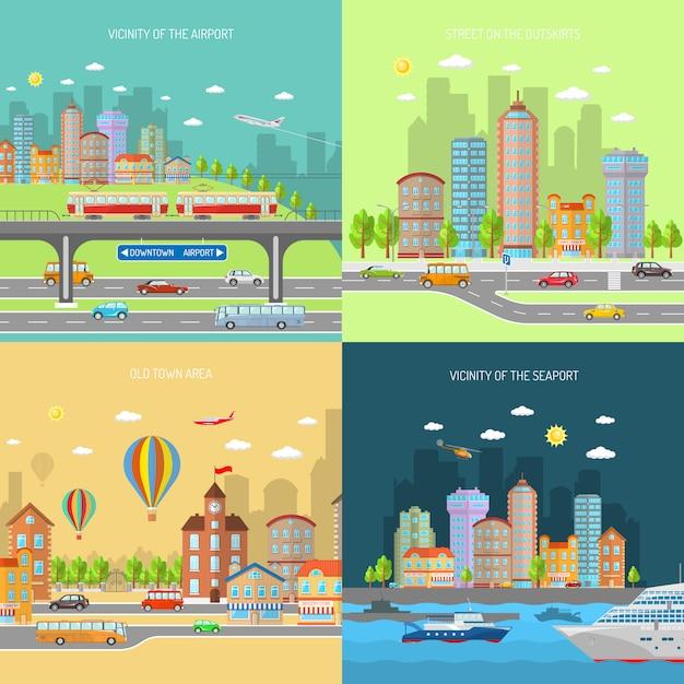 都市トランスポットデザインコンセプトセット 無料ベクター