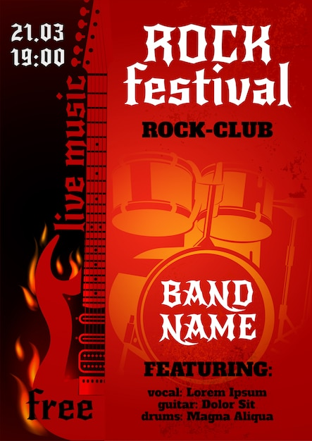 Афиша рок-концерта Бесплатные векторы