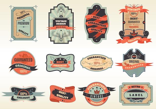 Коллекция эмблем оригинальных ретро этикеток Бесплатные векторы