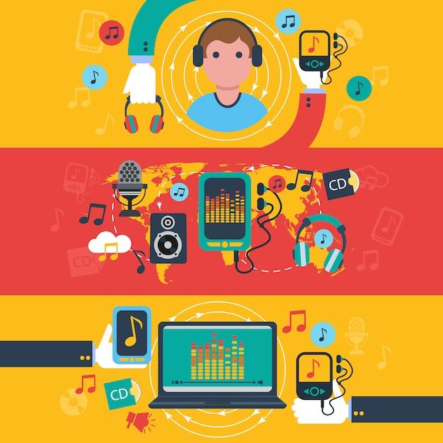 音楽アプリのコンセプトフラットバナーセット 無料ベクター