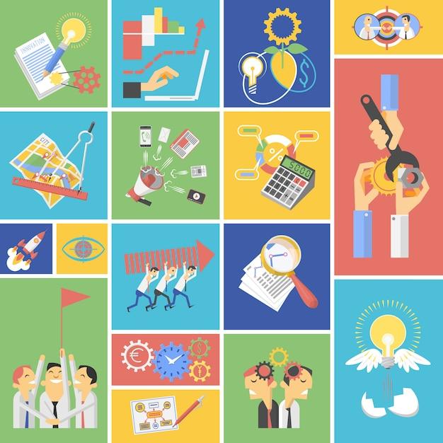ビジネスチームワークコンセプトフラットアイコンセット 無料ベクター