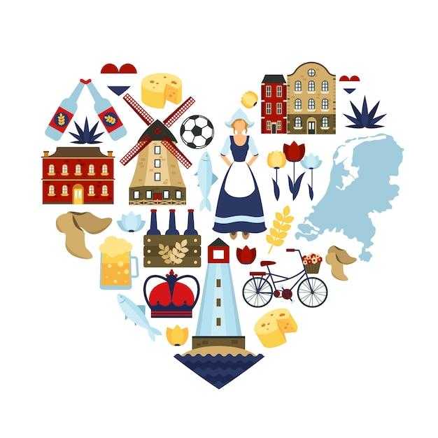 Концепция сердца нидерландов Бесплатные векторы