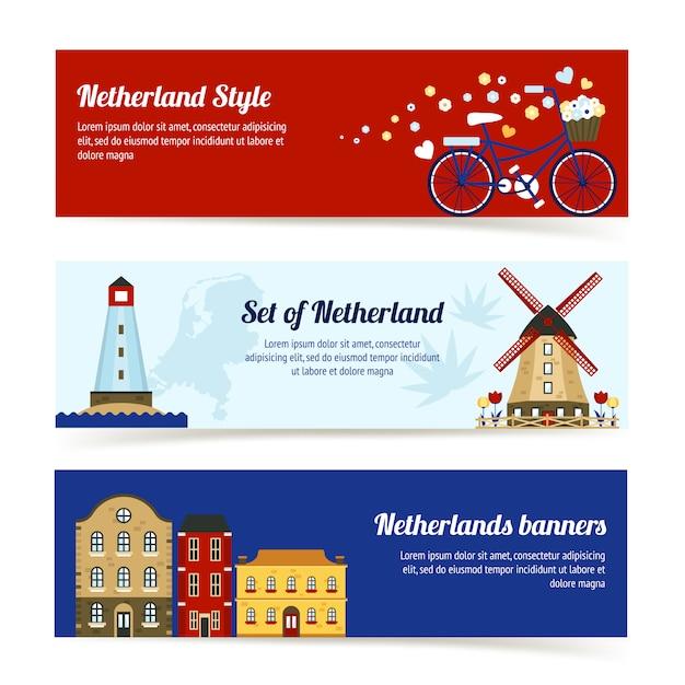オランダの水平方向のバナー 無料ベクター