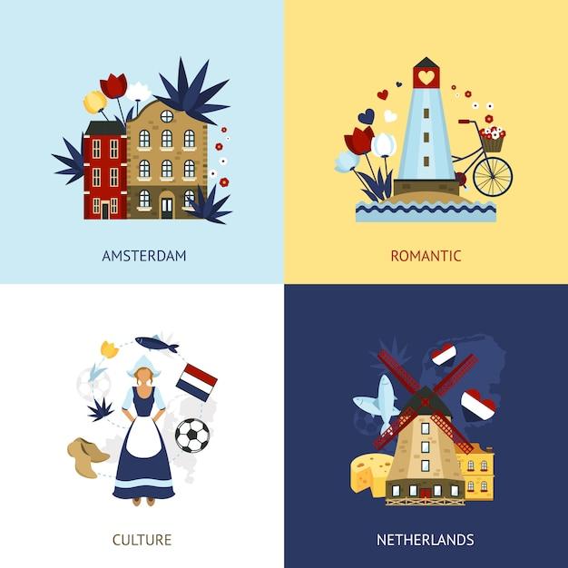 オランダデザインコンセプト 無料ベクター