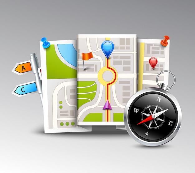Навигация реалистичный фон Бесплатные векторы