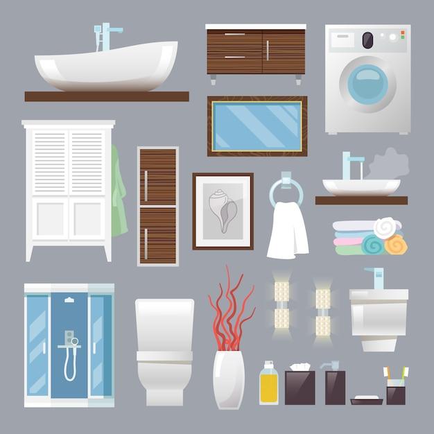 バスルーム家具フラット 無料ベクター