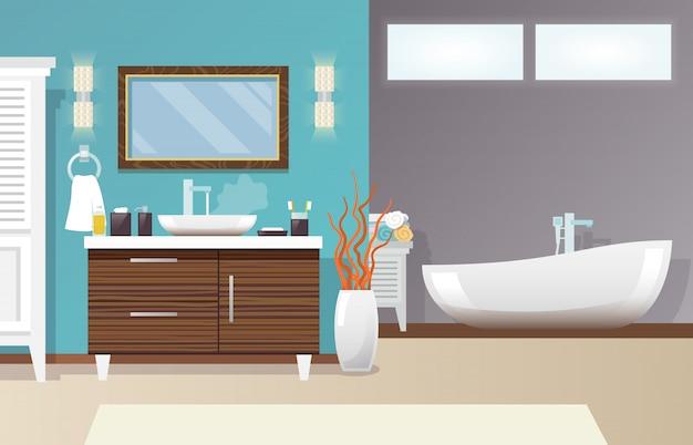 モダンなバスルームのインテリア 無料ベクター