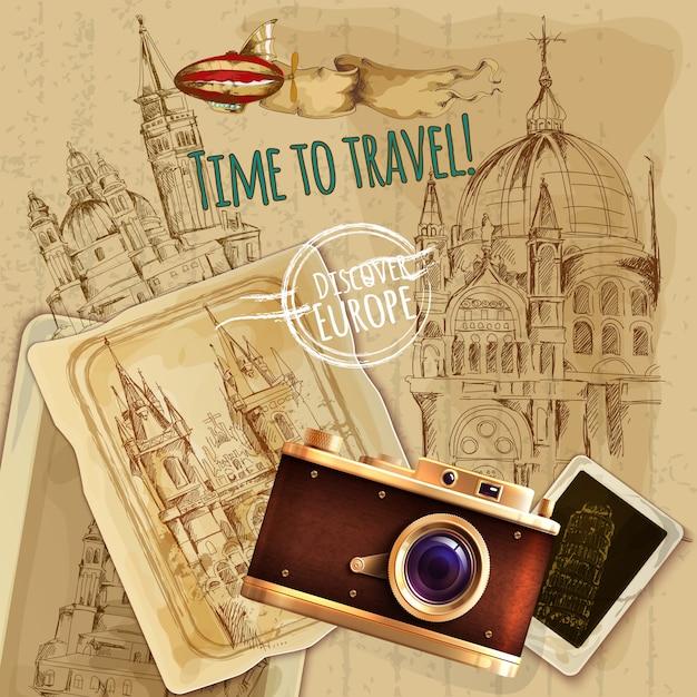 Путешествие по европе с камерой винтажный плакат Бесплатные векторы
