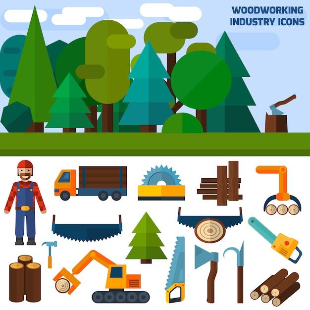 Иконы деревообрабатывающей промышленности Бесплатные векторы