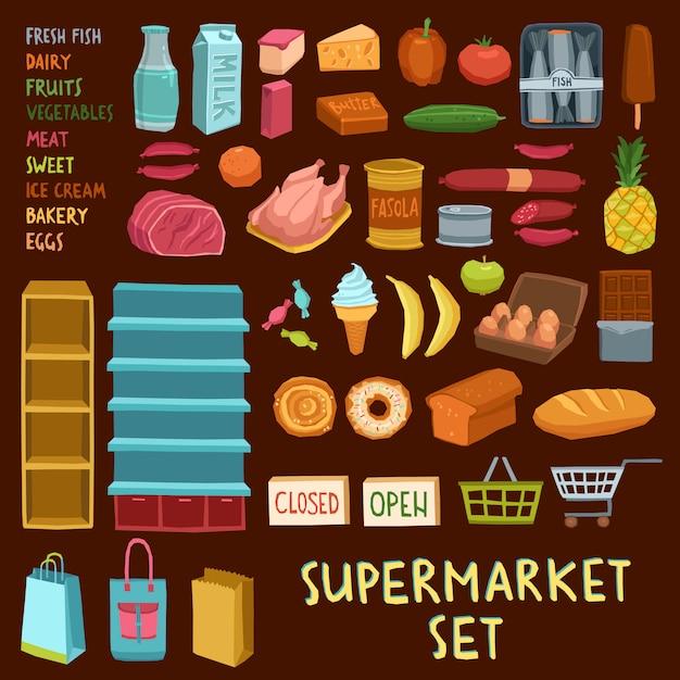 スーパーマーケットのアイコンを設定 無料ベクター