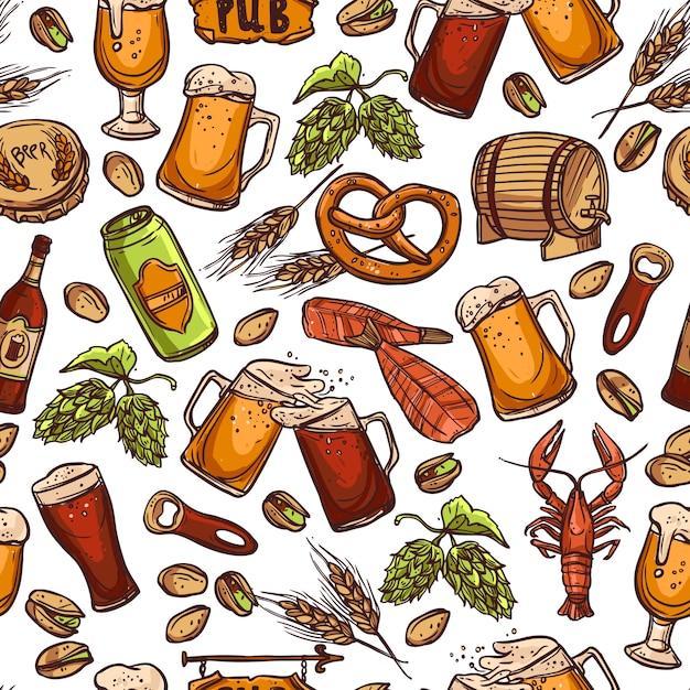 ビールのシームレスパターン 無料ベクター