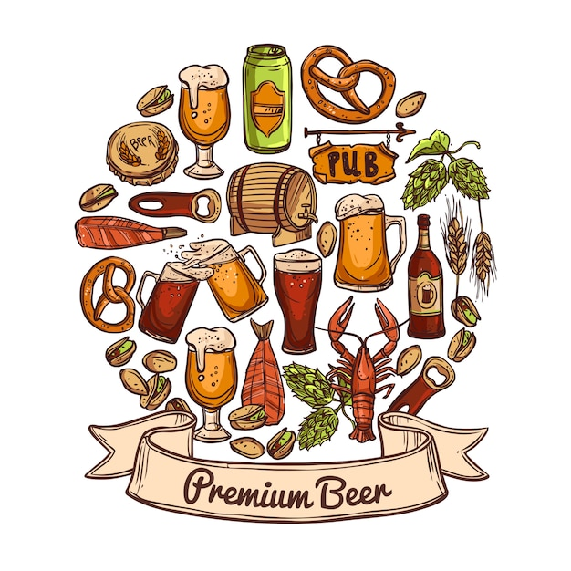 プレミアムビールのコンセプト 無料ベクター