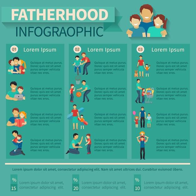 家族活動のシンボル入り父親と父親のインフォグラフィック 無料ベクター