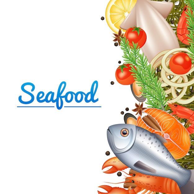 魚のステーキロブスターとスパイスのシーフードメニューの背景 無料ベクター