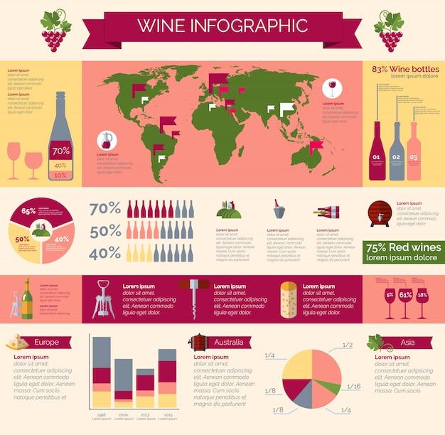 Виноделие и распространение инфографики постер Бесплатные векторы
