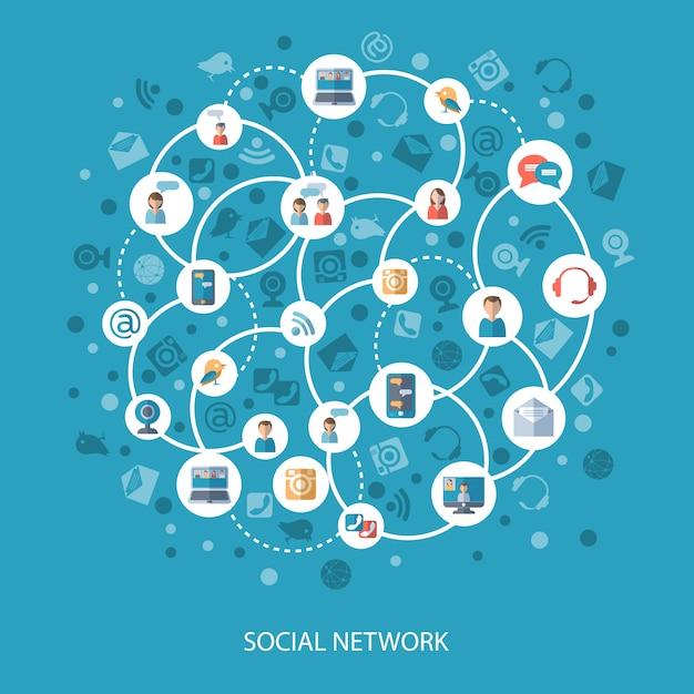 ソーシャルネットワークコミュニケーションの概念 無料ベクター