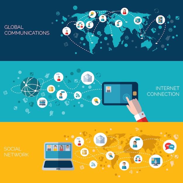 ソーシャルネットワークの水平方向のバナーセット 無料ベクター