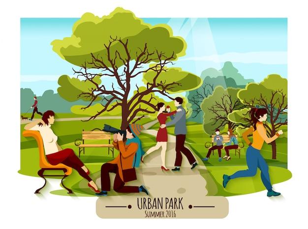 Сад пейзаж плакат Бесплатные векторы