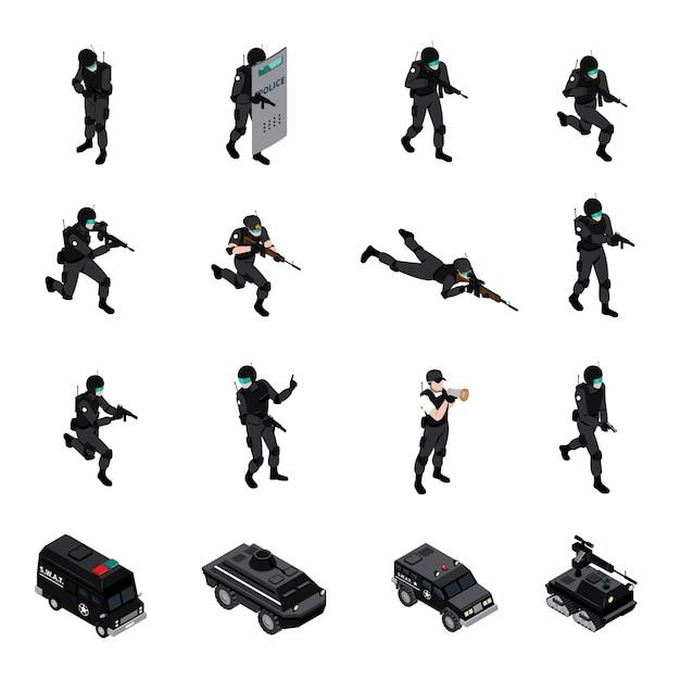 特殊武器ユニット等尺性のアイコンコレクション 無料ベクター