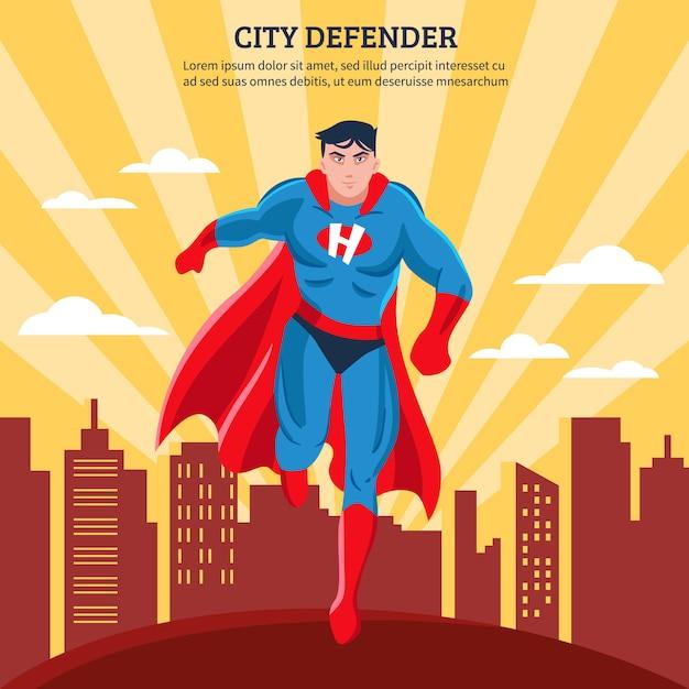 Город защитник плоский векторная иллюстрация Бесплатные векторы