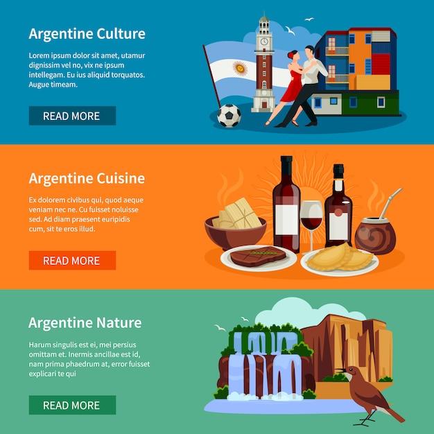 観光アルゼンチンフラットバナーのウェブサイトページ 無料ベクター