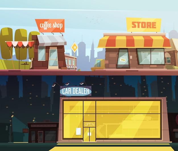 店の建物の水平方向のバナー設定車ディーラーシンボル漫画分離ベクトルイラスト 無料ベクター