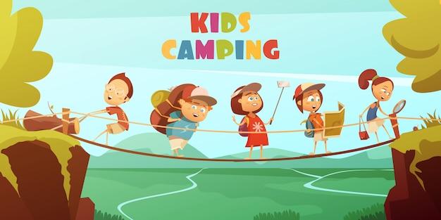 キャンプの子供たちと崖の谷と橋の漫画のベクトルの背景 無料ベクター