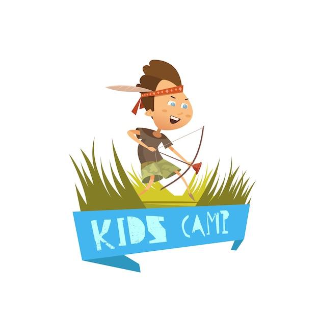 ハイキングやアーチェリーのシンボルと子供キャンプ漫画コンセプトベクトルイラスト 無料ベクター