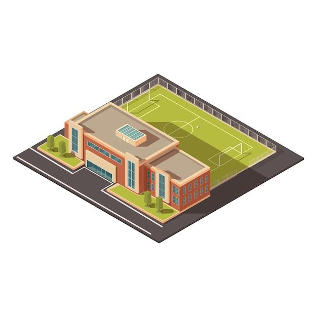 政府教育またはスポーツ施設建築の概念 無料ベクター