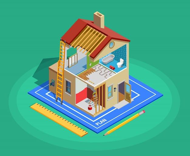 Ремонт дома изометрические шаблон Бесплатные векторы