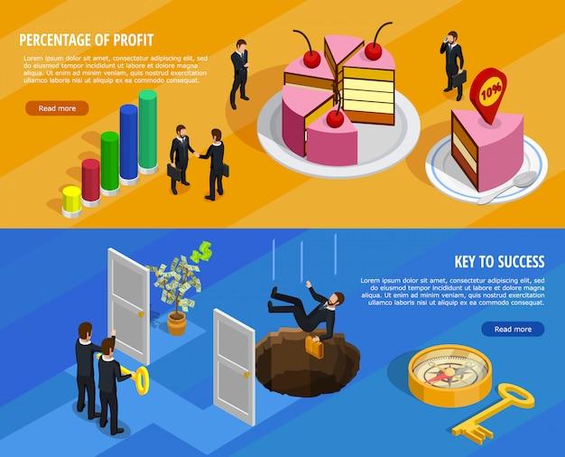 事業開発等尺性水平方向のバナー 無料ベクター