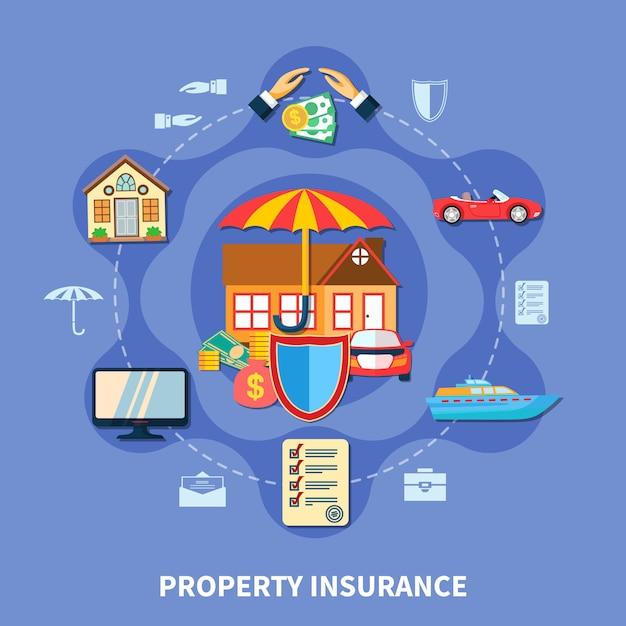 財産保護フラットコンセプト 無料ベクター